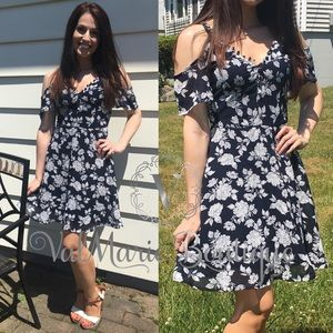 LAST 1- Navy Floral Cold Shoulder Dress